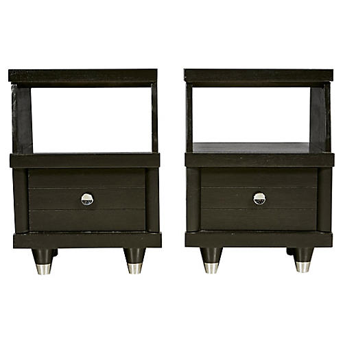 1960s Black Lacquered Nightstands, Pair