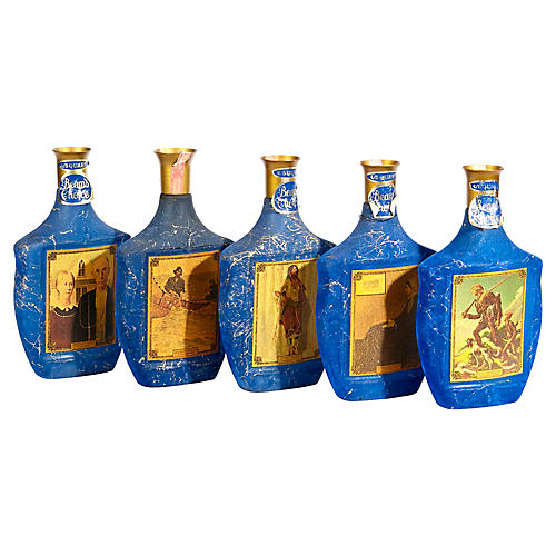 1960s Blue Velvet Bar Bottles, S/5