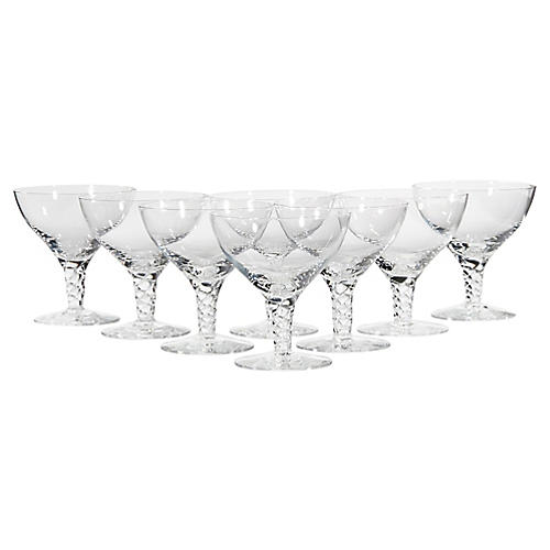1950s Twisted Stem Glass Coupes, S/8