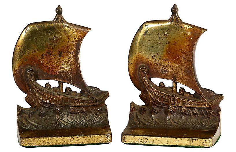 1950s Brass Sailing Ship Bookends, Pr