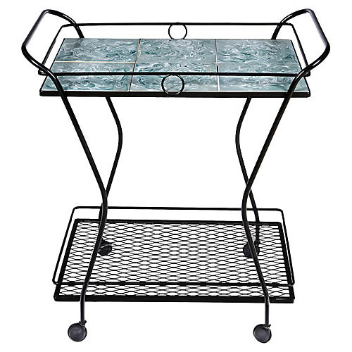 Black Metal and Tile Top Rolling Cart