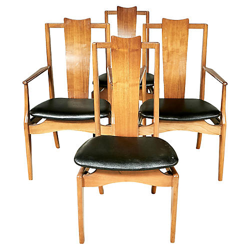 1960s Asian-Style Dining Room Chairs,S/4