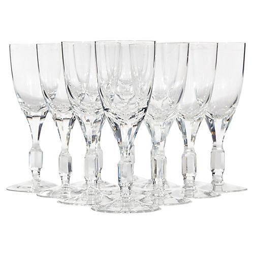 1960s Crystal Glass Wine Stems, S/11