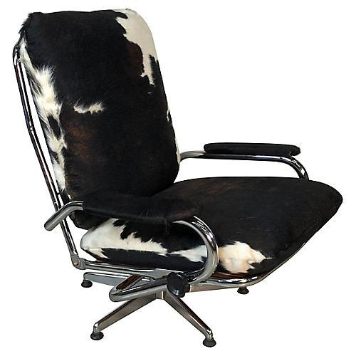 Chrome & Cowhide Reclining Lounge Chair