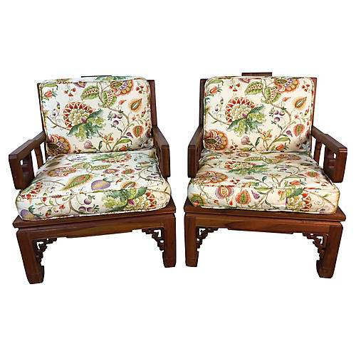 Asian Ming Style Carved Armchairs, Pair
