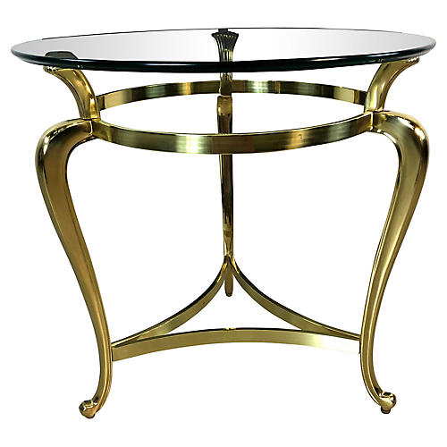 Hollywood Regency Glass-Top Table