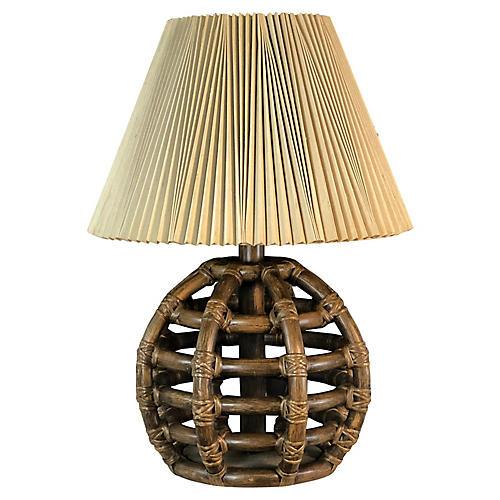 1970s Bamboo Barrel Table Lamp