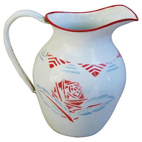 French Porcelain Enamelware Jug/Pitcher