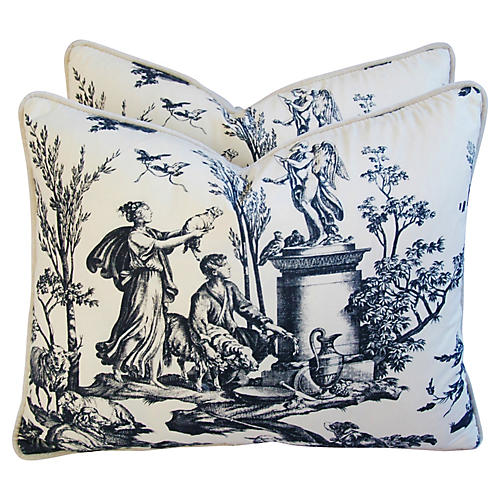 Romantic French Toile/Velvet Pillows, Pr