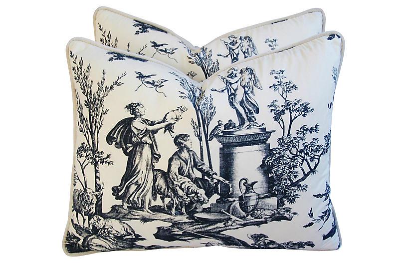 Romantic French Toile/Velvet Pillows, Pr