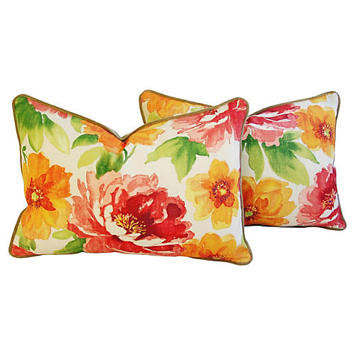 Jewel-Tone Floral Lumbar Pillows, Pair