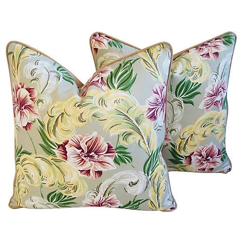 Tropical Floral Barkcloth Pillows, Pair