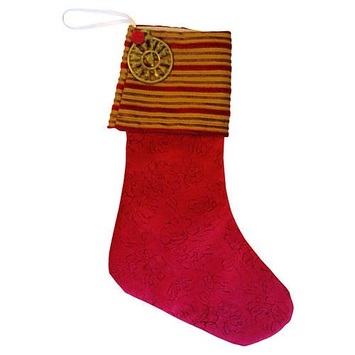 Christmas Stocking w/ Brass Medallion