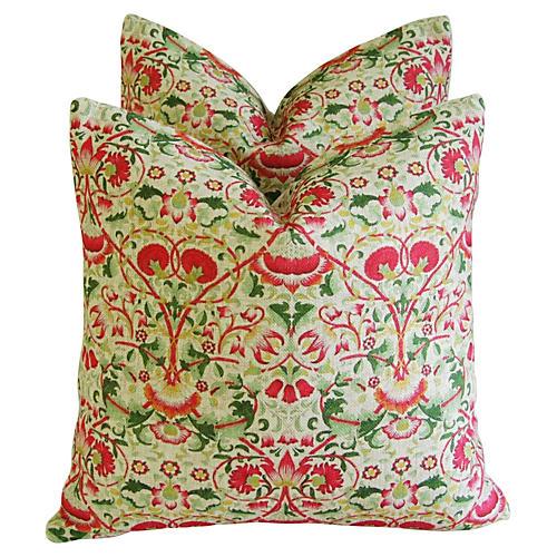 Colorful Floral Linen Pillows, Pair