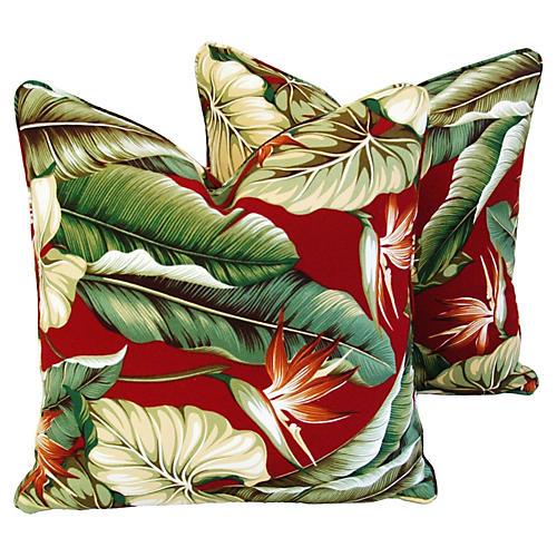 Bird of Paradise Barkcloth Pillows, Pair
