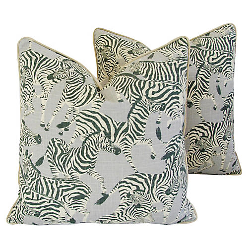 Safari Zebra Pillows, Pair