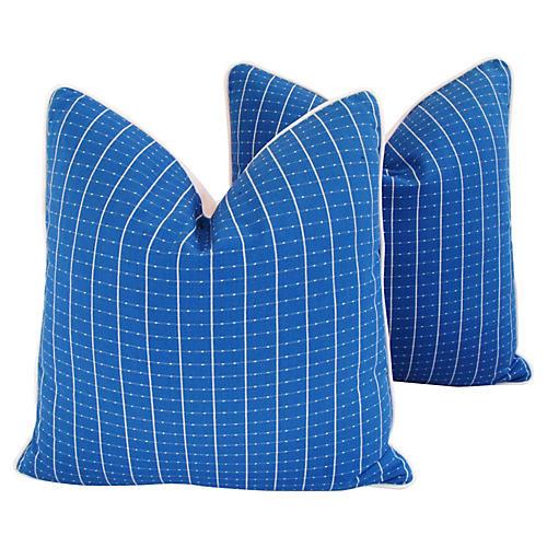Coastal Blue/White Nautical Pillows Pair