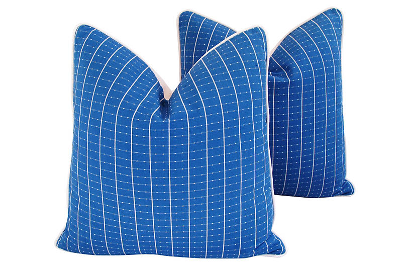 Coastal Blue/White Nautical Pillows Pair