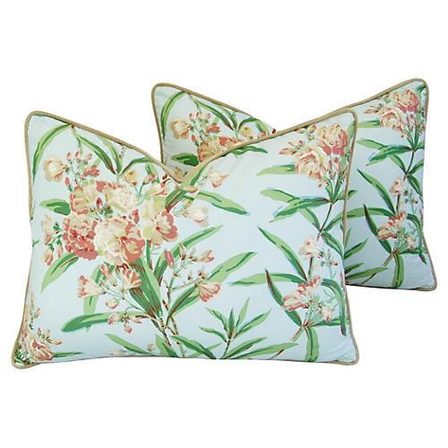 Schumacher Oleander Blossom Pillows Pair