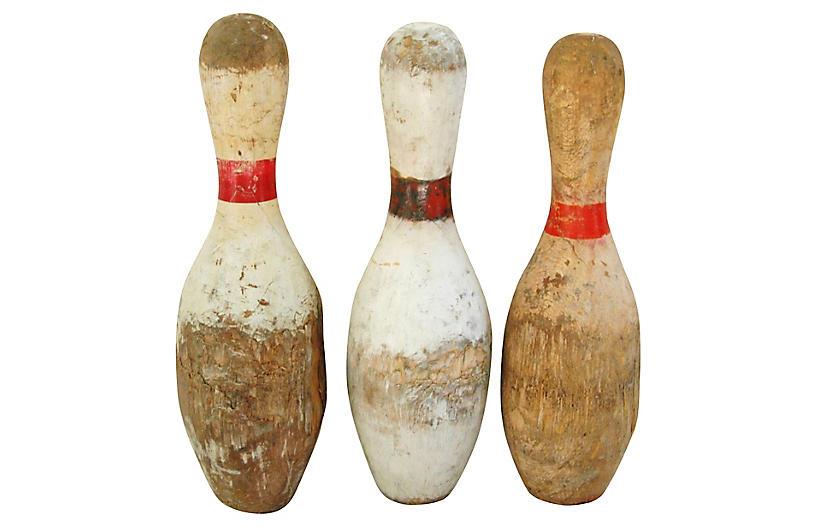 Vintage Wood Bowling Pins, S/3