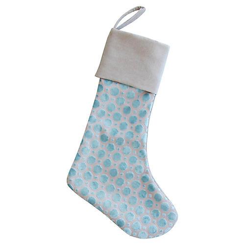 Pale Blue Velvet Christmas Stocking