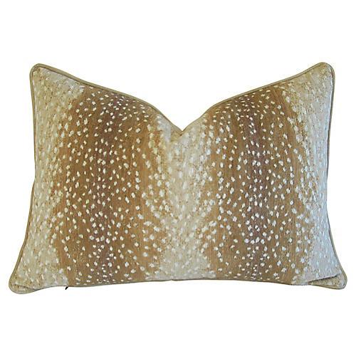 Fawn Deer Speckled Velvet Pillow