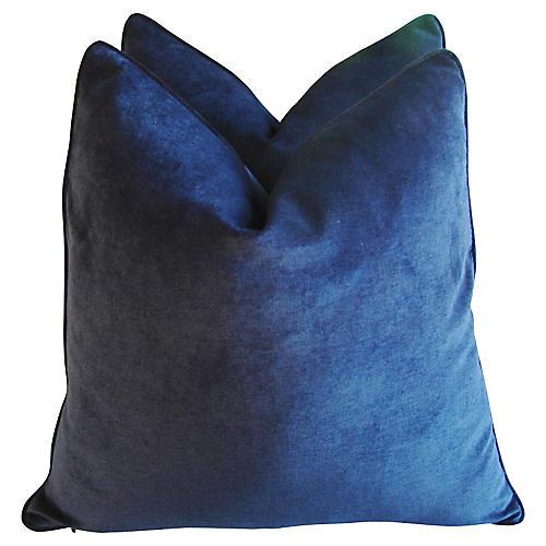 Midnight Blue Velvet Pillows, Pair