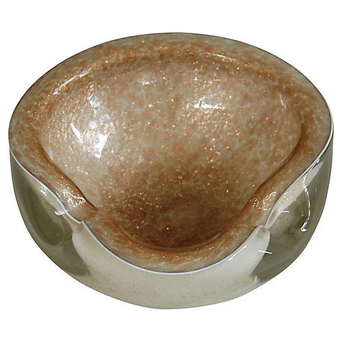 Golden Italian Murano Art Glass Dish