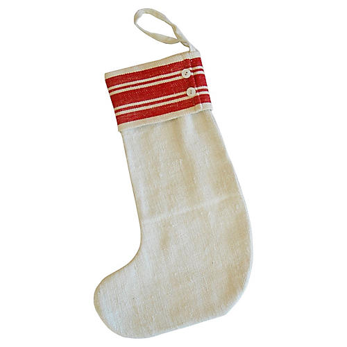 French Grain Sack Christmas Stocking