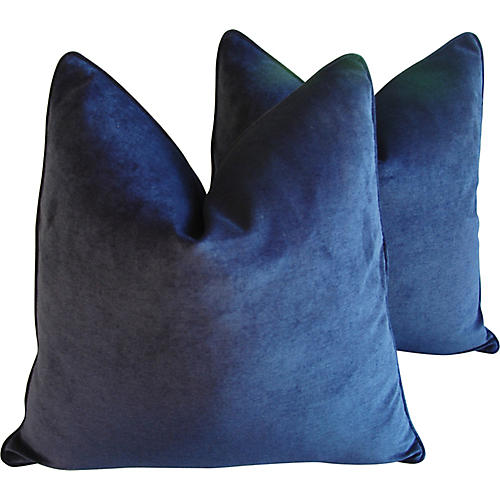 Midnight Blue Velvet Pillows, Pair