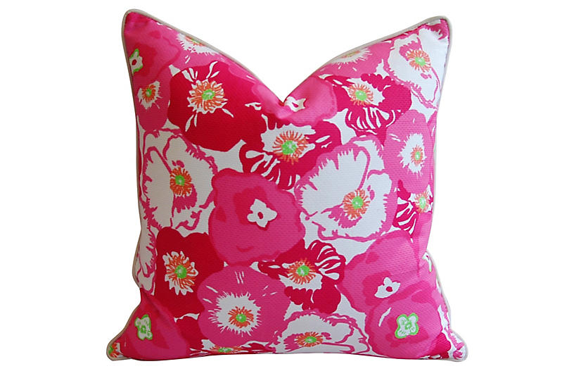 Pink & White Begonia Blossom Pillow