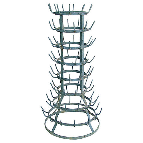 Large French Zinc Bottle Drying Rack
