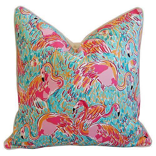 Tropical Pink Flamingos Pillow