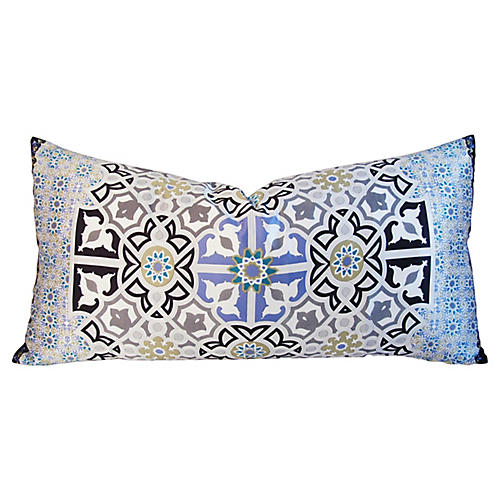 Italian Silk Periwinkle/Turquoise Pillow