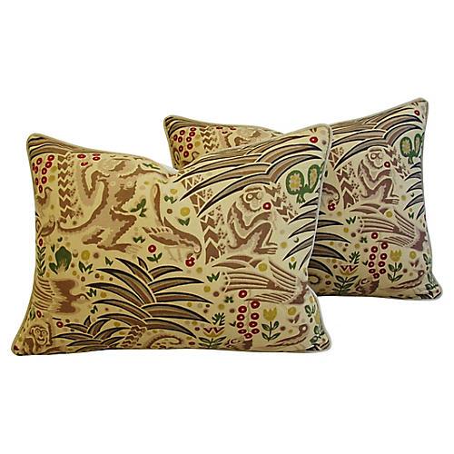 Clarence House Gibbon Fabric Pillows, Pr