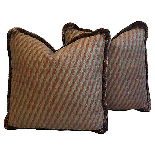 Italian Fortuny Piumette Pillows, Pair