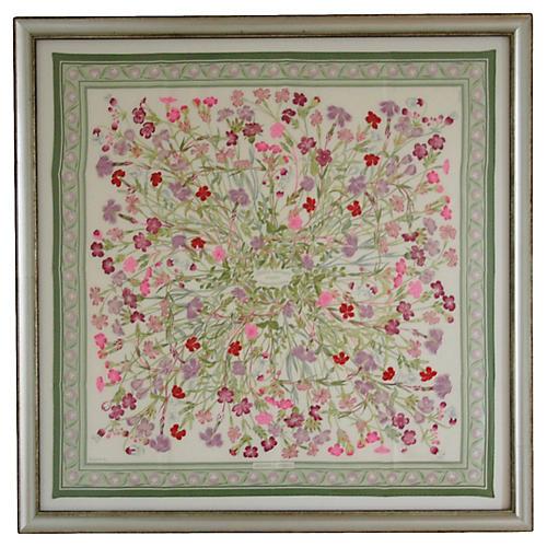 Framed Hermès Silk Floral Scarf