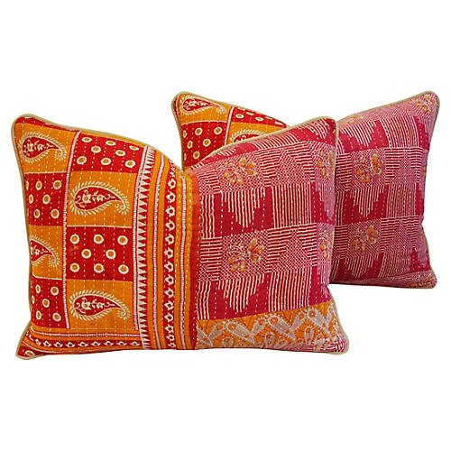 Boho-Chic Kantha Textile Pillows, Pair