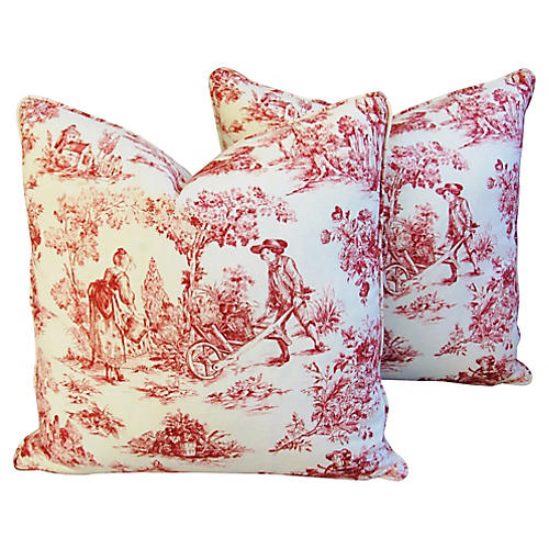 French Country Toile Pillows, Pair