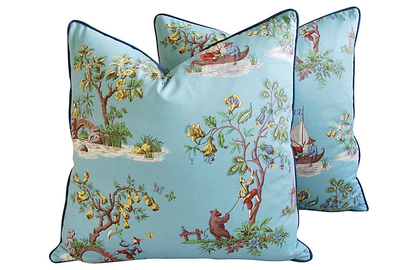 Scalamandré Chinoiserie Pillows, Pair
