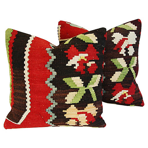 Anatolian Turkish Kilim Wool Pillows, Pr