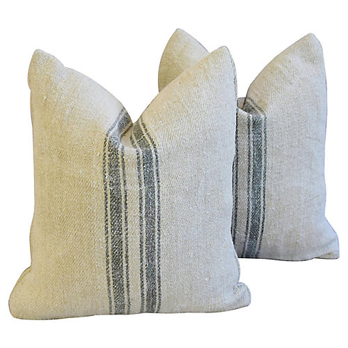 French Gray Stripe Gain Sack Pillows, Pr
