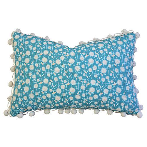 Dandelion Flower Pillow w/ Pom-Pom Trim