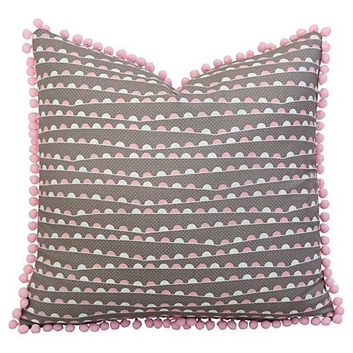 Pink & White Pillow w/ Pom-Pom Trim