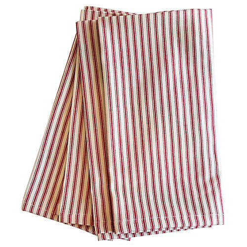 French Red & Ivory Ticking Napkins, S/4