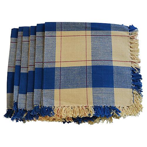 Blue & Yellow Plaid Linen Napkins, S/6