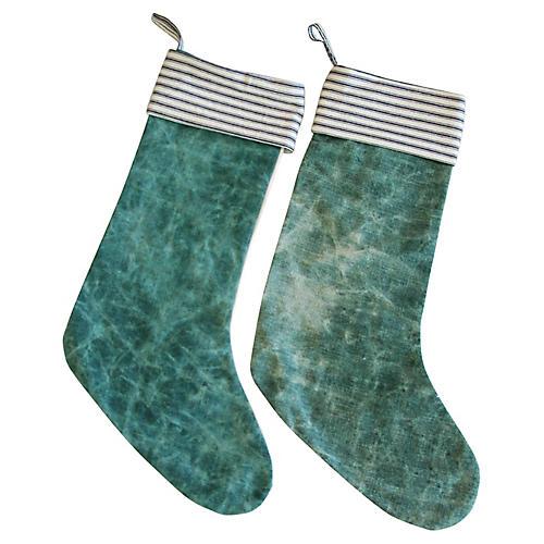 French Textile Christmas Stockings, Pair