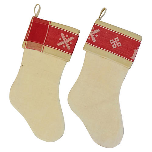French Linen Christmas Stockings, Pair