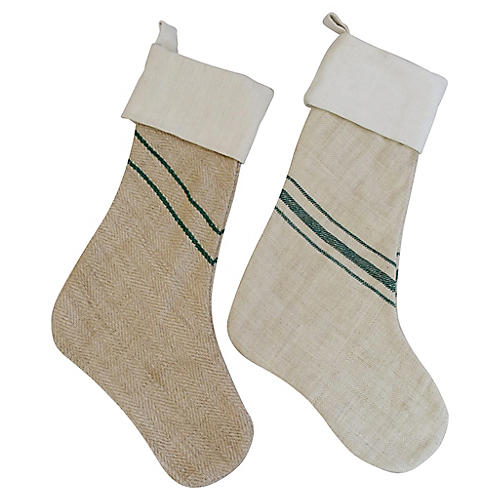 Grain Sack Christmas Stockings, Pair