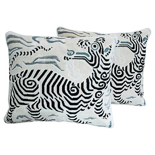 Clarence House Dragon Fabric Pillows, Pr